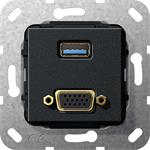 Gira UP Tragring USB A und VGA 568810