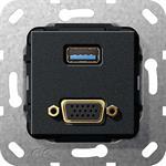 Gira UP Tragring USB A und VGA 568910