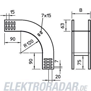 OBO Bettermann Vertikalbogen 90Grad RBV 610 F FS