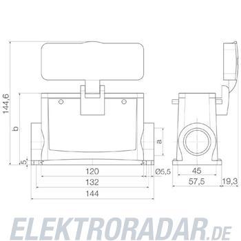 Weidmüller Steckverbinder-Gehäuse HDC 64D SDBO 1M32G