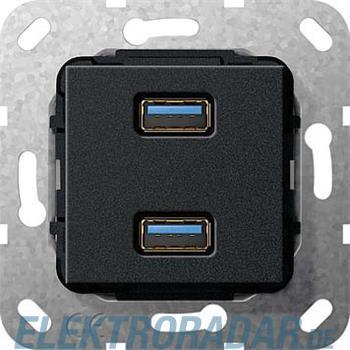 Gira USB 3.0 A 2fach sw matt 568510
