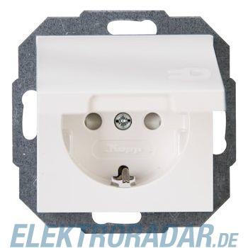 Kopp 9401.2900.1  Schutzkontakt-Steckdose mit Klappdeckel und Kinderschutz, HK07, reinweiß