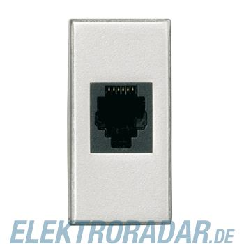 Legrand HC4262/12 Telefondose RJ12 Cat. 3 AMP Barrel 1-modulig Alumi
