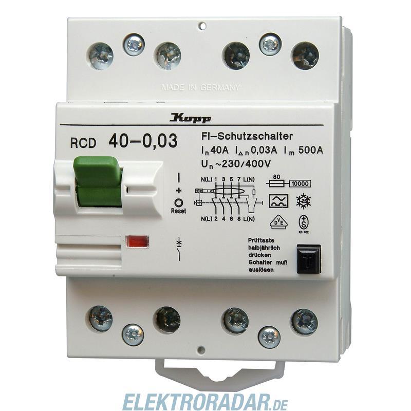 Kopp Fehlerstromschutzschalter RCD, 40A, 30mA, 4-polig 7540.4801.3